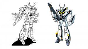 El Wasp de Battletech y el original  VF-1S Valkyrie en el modo Battroid de Macross (derecha).
